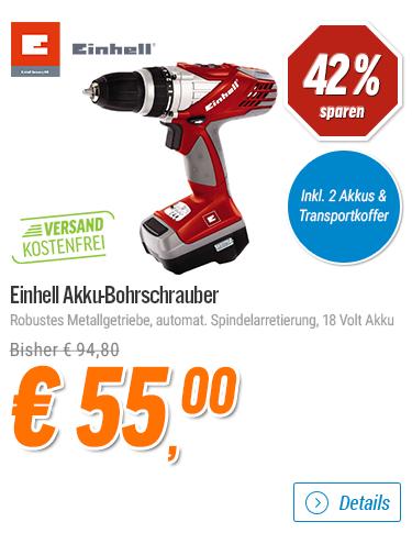[Notebooksbilliger] Deals der Woche - z.B. beim Einhell RT-CD 18/1 Akku-Bohrschrauber 38% sparen!