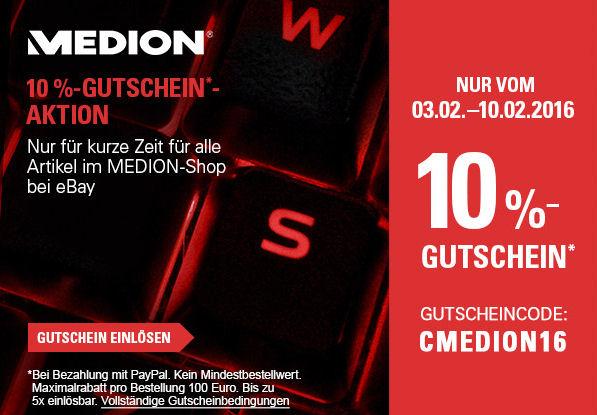 [ebay.de Medion-Shop] MEDION 10% GUTSCHEIN AKTION EBAY.DE / mit Paypal-Zahlung - Gutschein Code: CMEDION2016