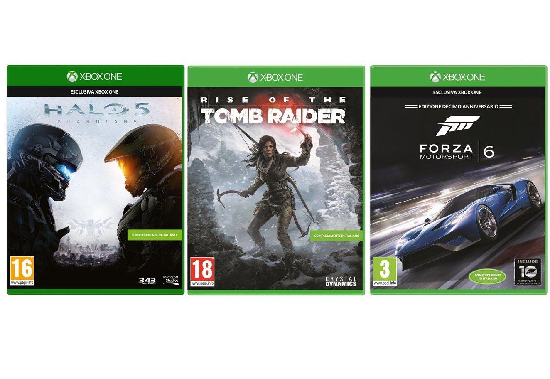 [Amazon.it][Xbox One] Halo 5 + Rise of the Tomb Raider + Forza 6 für 92,41€ - 39% sparen