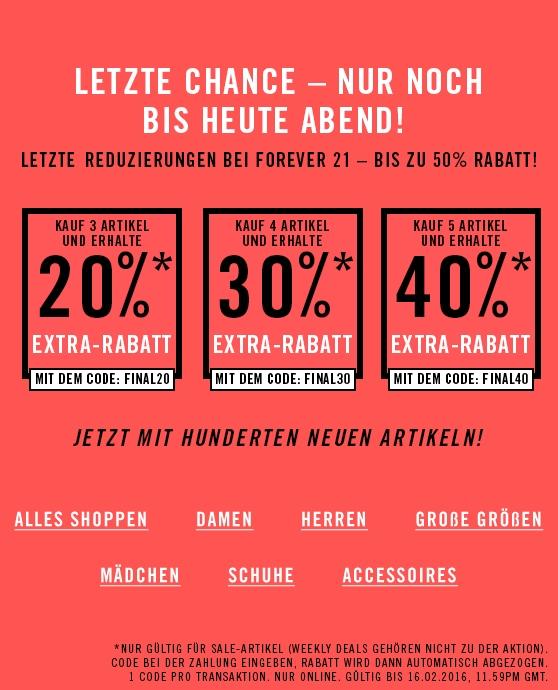 Forever21 Sale mit bis zu 40% Extra-Rabatt - nur heute gültig!