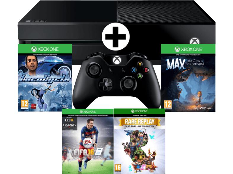 [MediaMarkt.at] MICROSOFT Xbox One 500GB mit FIFA 16 (DLC)+ LocoCycle (DLC)+ Max (DLC) + Rare Replay + 1 Monat EA Access um nur 301€