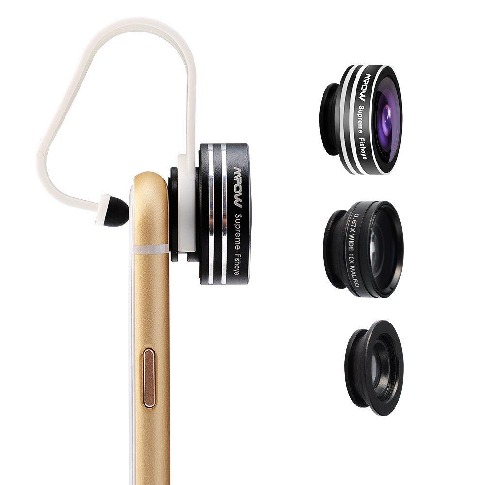 Amazon Prime - Mpow 3 in 1 Clip-On 180 Grad Fisheye Fischauge Supreme + 0.65X Weitwinkel + 10X Makro-Objektiv für 9,99 Euro