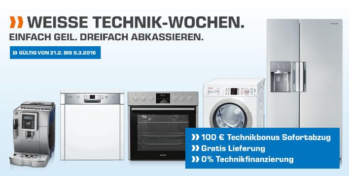 Saturn Weisse Technik-Wochen - 100€Rabatt ab 499€ + keine Versandkosten + 0% Finanzierung