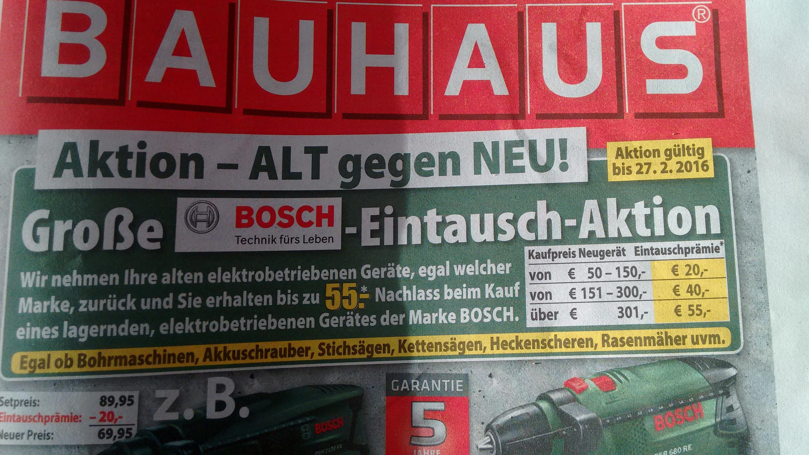 [Bauhaus] bis zu 55€ Rabatt auf Boschgeräte bei Rückgabe eines Altgeräts