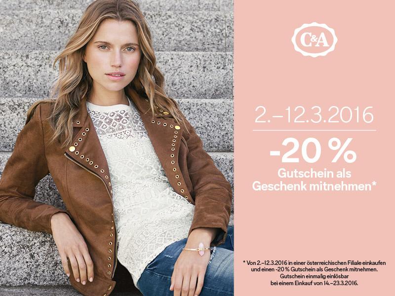 C&A: Bis zum 12. März einkaufen und 20% Rabatt Gutschein geschenkt bekommen