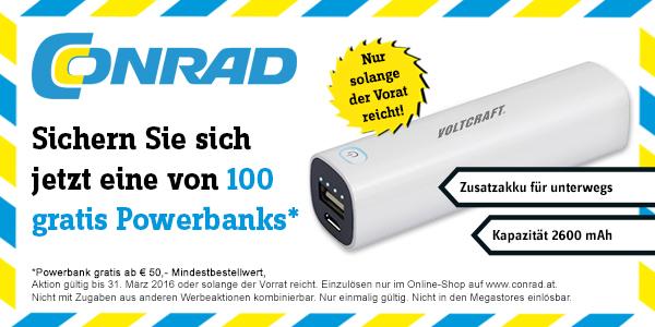 Conrad: Voltcraft Powerbank (2600 mAh) kostenlos ab einem Bestellwert von 50€- nur bis zum 31. März