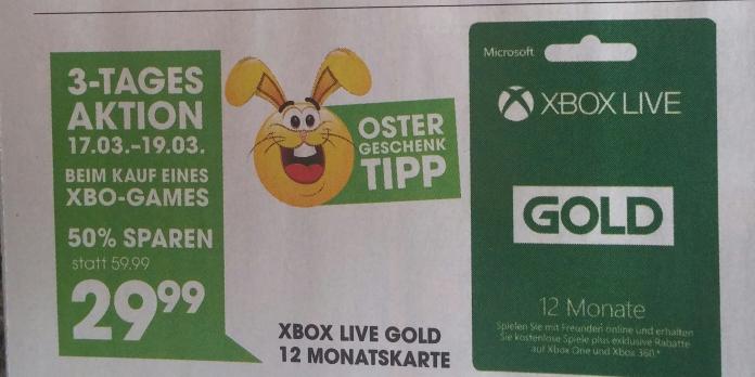 Libro: 3 Tage aktion Xbox live gold 12 Monat.  29,99 euro - bei Kauf von Xbox One Spiel