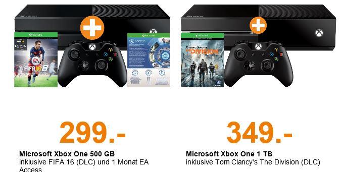 Xbox One 500GB + Fifa 16 (DLC) + 1 Monat EA Access für 299€ od. 349€ mit Division 1TB Version @SaturnAT