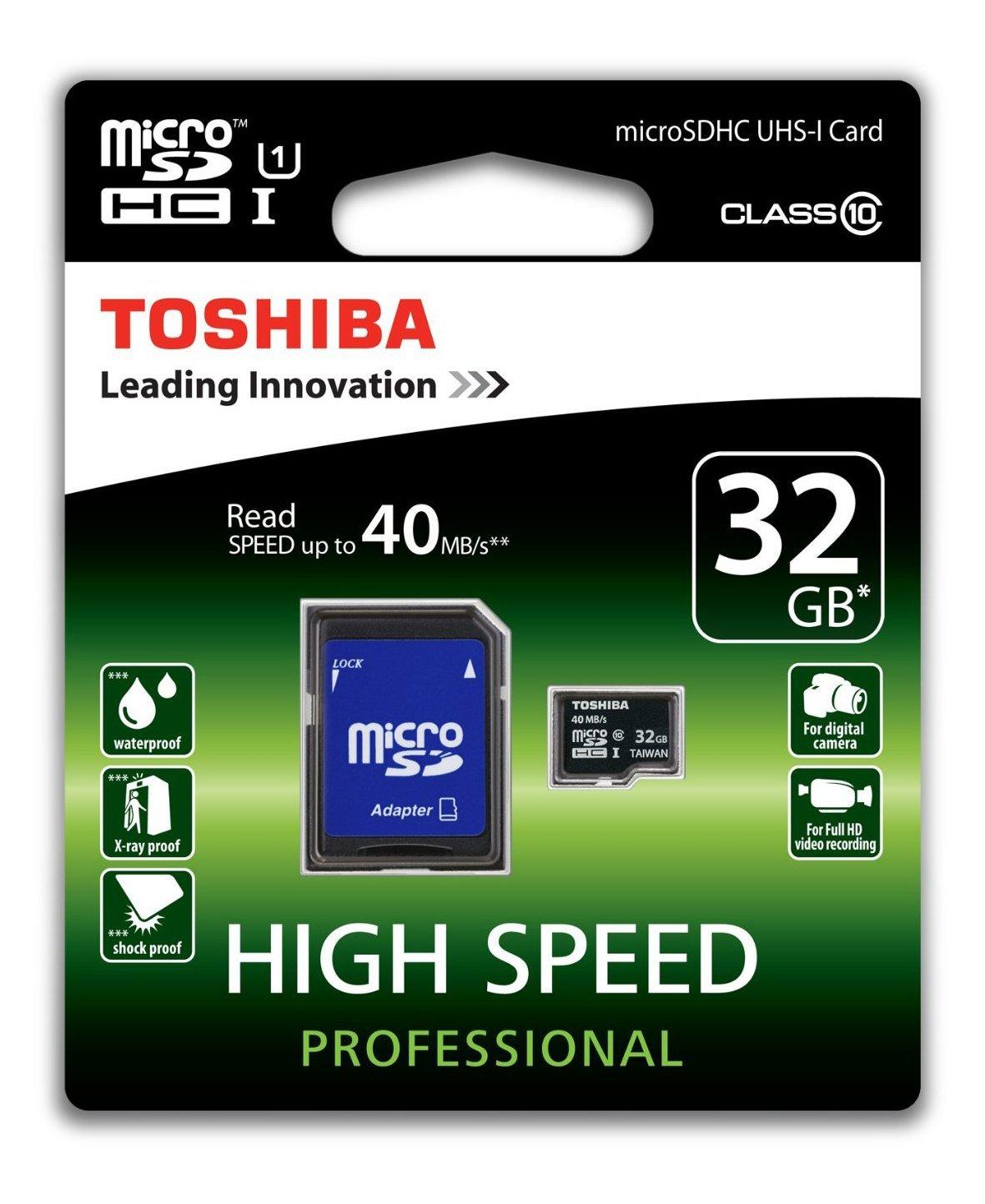Amazon und Mediamarkt: Toshiba High Speed Professional Micro SDHC 32GB Class 10 für nur 7 Euro statt 11,80 Euro bei Idealo