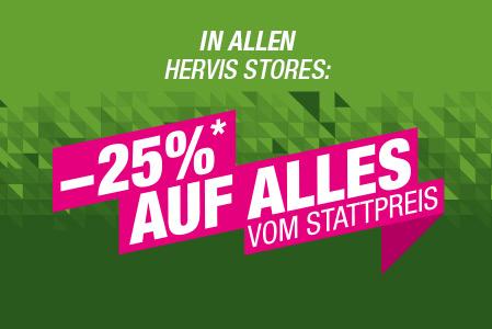 Hervis: 25% auf alles in den Filialen - 20% auf alles im Online-Shop - nur bis zum 30. Mai