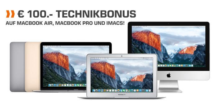 Saturn: 100 € Sofort-Rabatt auf iMac, MacBook Pro und Air
