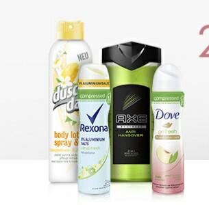 25% Rabatt auf Produkte von Axe, Dove, DuschDas und Rexona