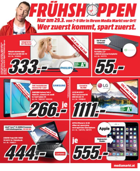 Media Markt Frühshoppen am 29. März zwischen 7 - 9 Uhr - Alle Angebote im Preischeck!