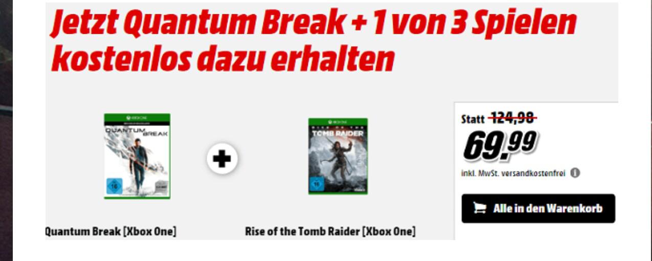 MediaMarkt.de: Xbox one Schnäppchen.  Quantum Break + 1 von 3 Spielen kostenlos dazu erhalten