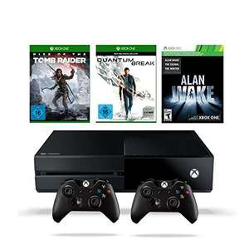 Amazon: Xbox One 500GB inkl. Quantum Break + Rise of the Tomb Raider + Alan Wake + 2. Controller für 349€
