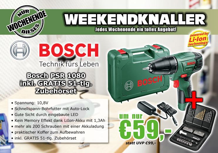 0815.at: Bosch PSR 1080 LI Akku-Bohrschrauber Set für 59€
