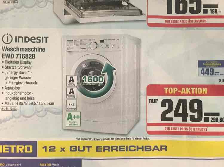 [METRO] Indesit Waschmaschine EWD 71682B (1600 Umdrehungen)