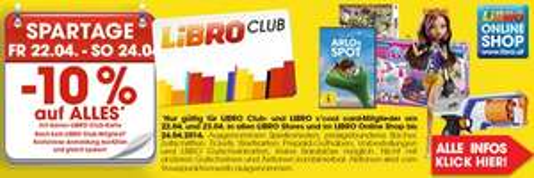 Libro Club Spartage: 10% Rabatt auf fast alles - nur vom 22. bis zum 24. April