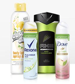 25% Frühlingsrabatt auf Produkte von AXE, Dove, DuschDas & Rexona + gratis Artikel