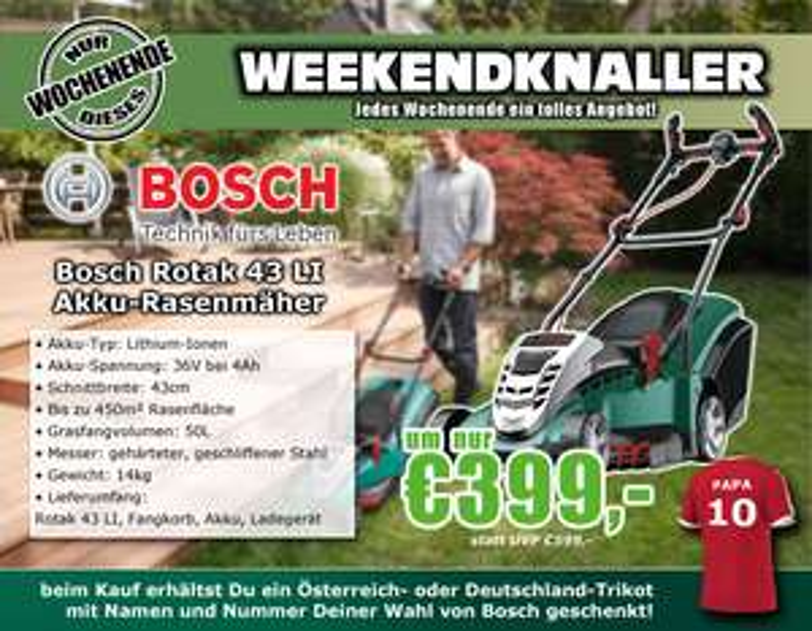 0815.at: Bosch Rotak 43 LI Grün Akku-Rasenmäher für 399€