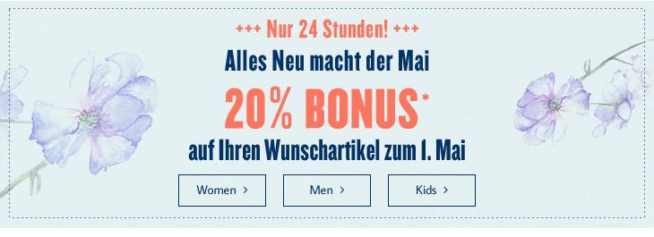 Tom Tailor: 20% Rabatt auf 1 Artikel nach Wahl - nur heute gültig!