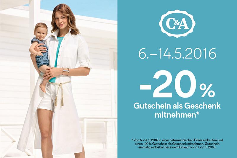C&A: Bis zum 14. Mai einkaufen und 20% Rabatt Gutschein geschenkt bekommen
