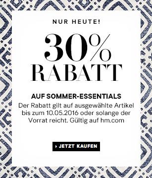 H&M: 30% Rabatt auf ausgewählte Sommerkleidung + keine Versandkosten - nur heute gültig!