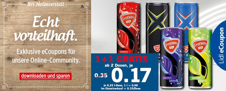 Freeway Energy Drink bei Lidl für 0,17 € pro Dose (50% günstiger)