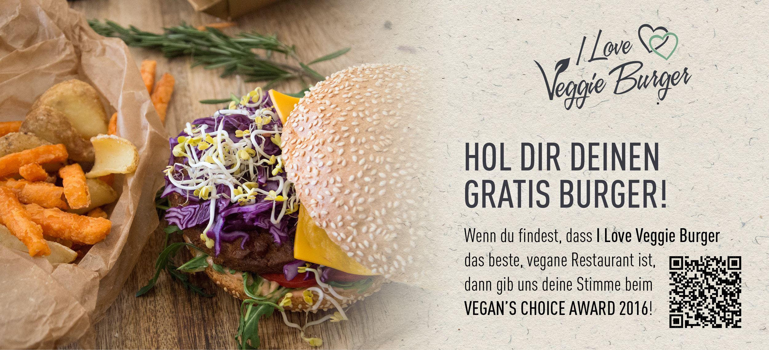 I Love Veggie Burger: Gratis Burger mit wenig Aufwand - nur bis zum 25. Mai