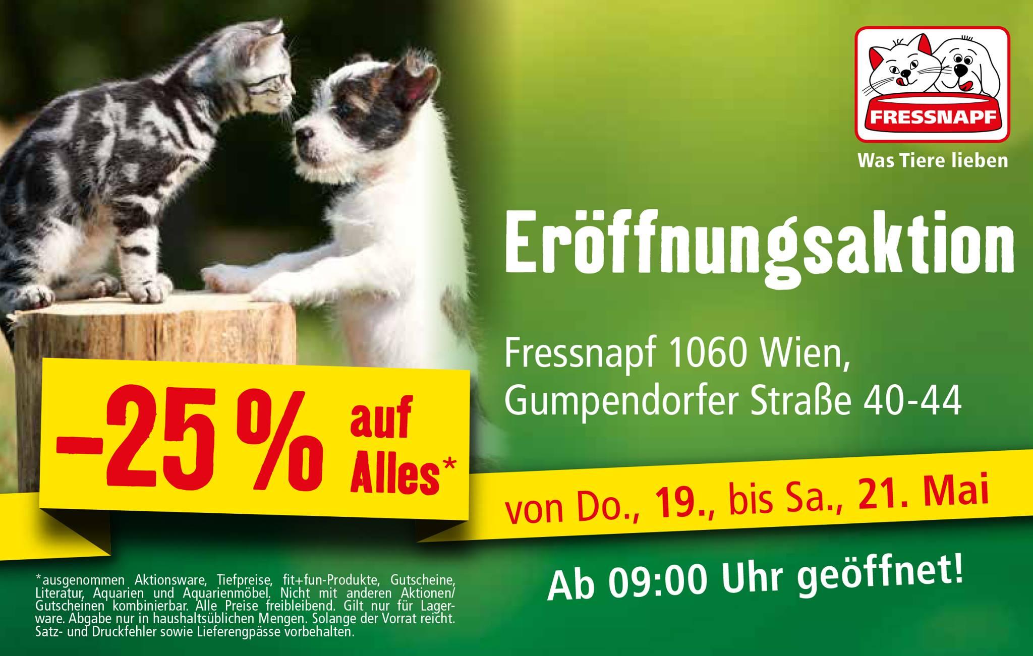 [lokal: Wien 1060] Fressnapf Neueröffnung: 25% auf (fast) alles