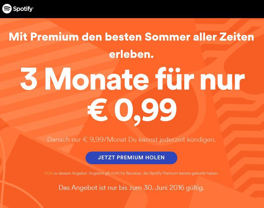 Spotify Premium: 3 Monate um € 0,99 (oder € 9,99) statt € 29,97