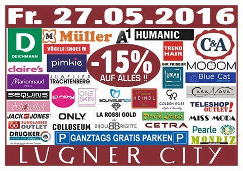Lugner City: 15% Rabatt in vielen Shops + ganztags gratis Parken - nur am 27. Mai