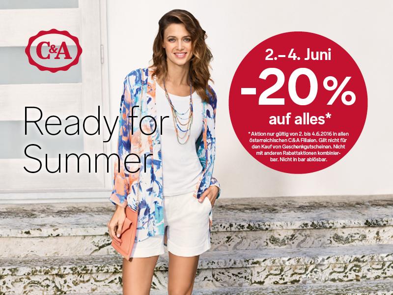 C&A: 20% Rabatt auf den kompletten Einkauf - nur bis zum 4. Juni