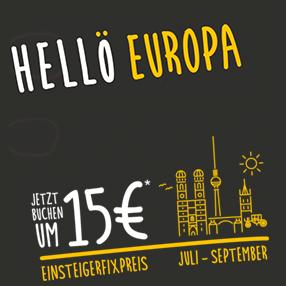 ÖBB Hellö - Um 15€ quer durch Europa fahren - alle Fahrten vom 14. Juli bis zum 30. September