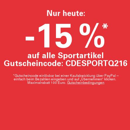 Nur heute: 15% auf Sport-Artikel auf ebay