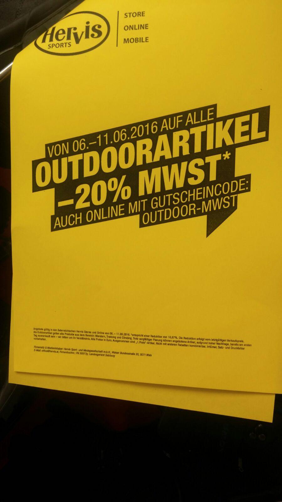 -16,67% beim Hervis für Outdoor Artikel