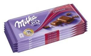 Milka Zartherb, Tafelschokolade (5 x 100g) um nur 2,66€ (53 Cent pro Tafel)