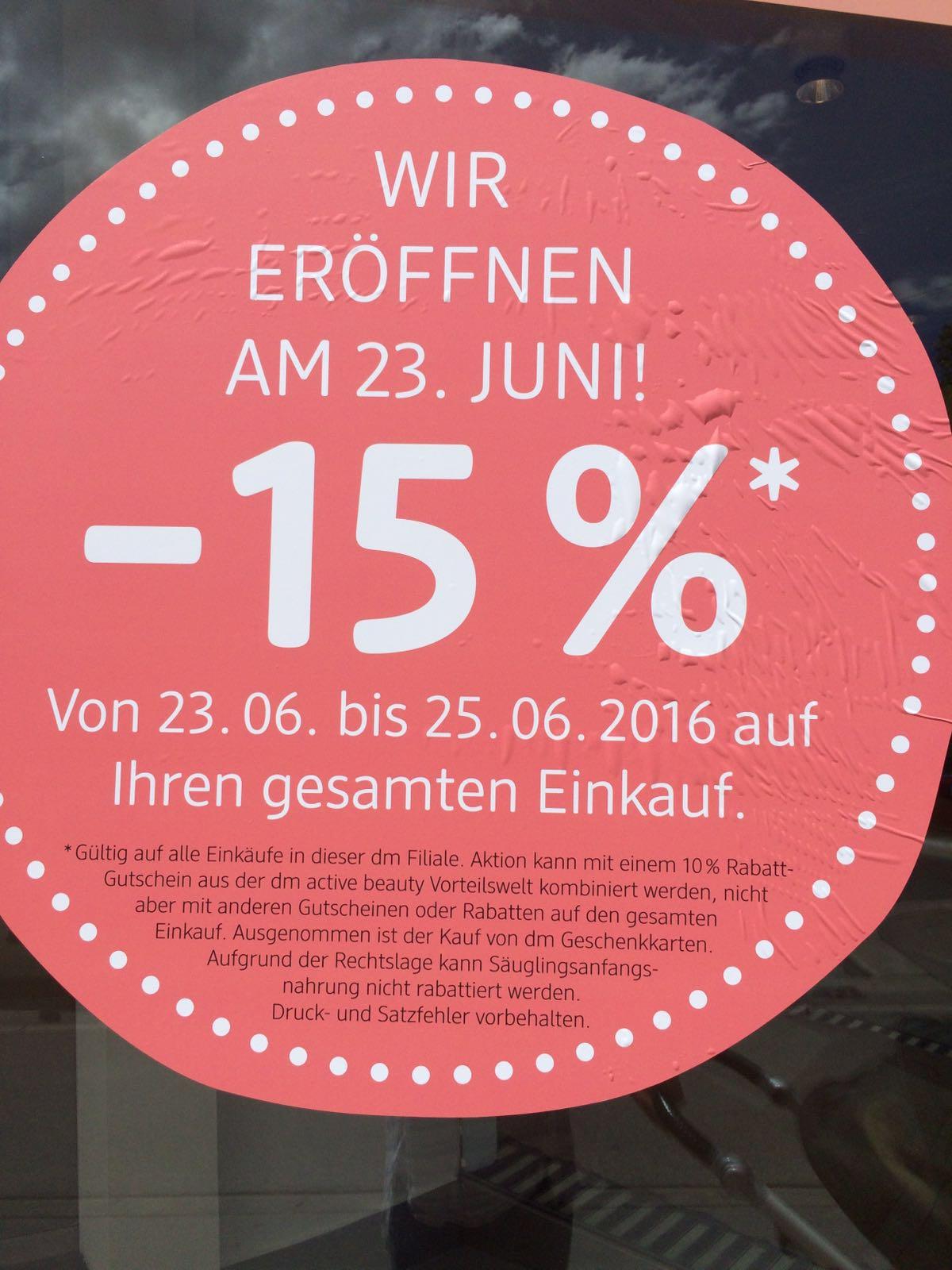 [Lokal: Wien 1060] dm Neueröffnung (Linke Wienzeile 38) 15% auf fast alles - vom 23.6.-25.6.