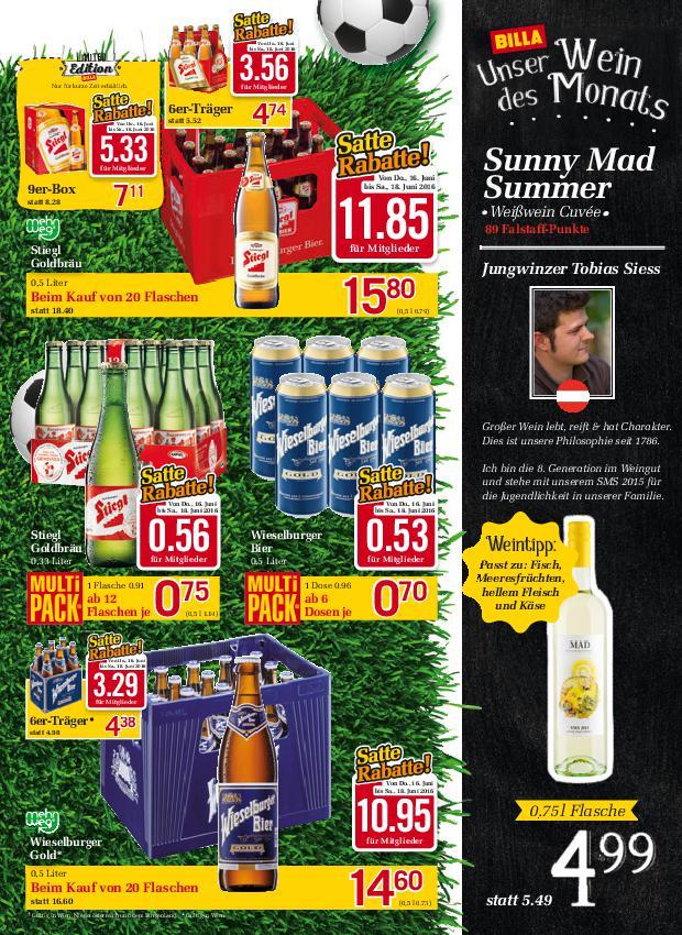 """Mit Billa """"Satte Rabatte"""" 25% auf Bier und Marktguru - Stiegl  Goldbräu 0,5l für 39 Cent/Flasche"""