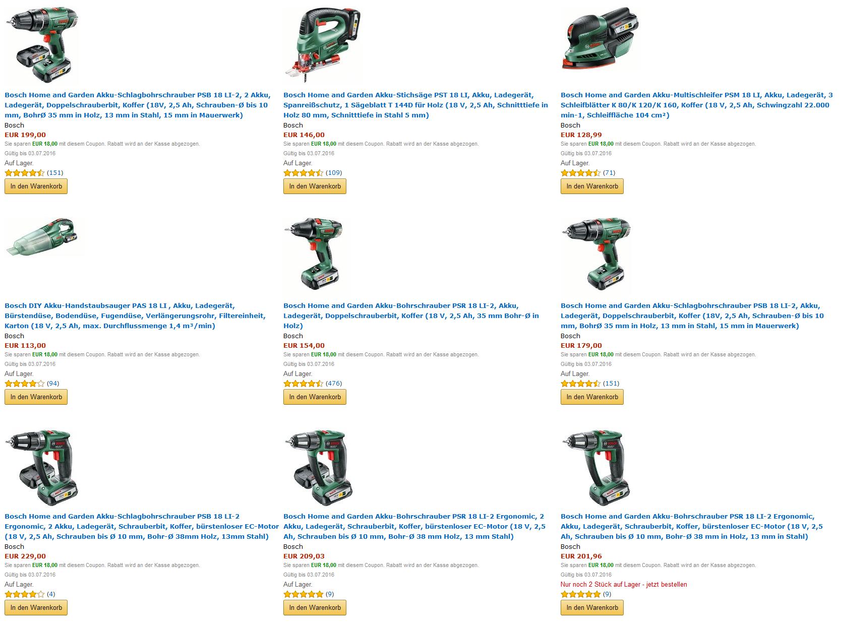[Amazon] Bosch Werkzeuge mit 18€ Coupon und einer Ersparnis von bis zu 20%