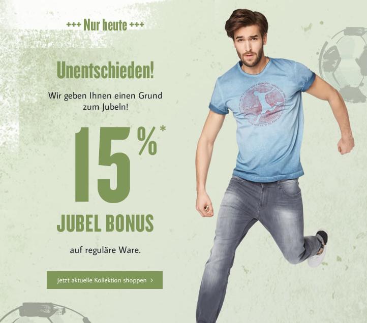Tom Tailor: 15% Rabatt auf reguläre Ware - nur heute gültig