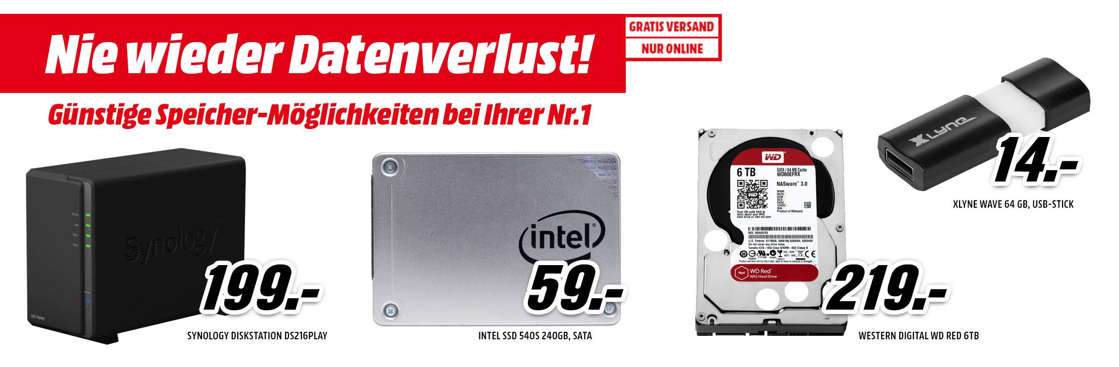 Media Markt Speicher Special - u.a. mit: Synology DS216PLAY NAS-System für 189€