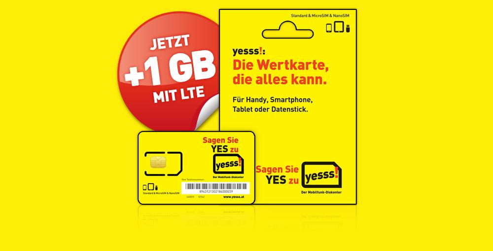 Jetzt bei yesss!: 1GB LTE Internet zu jeder neuen Aktivierung.
