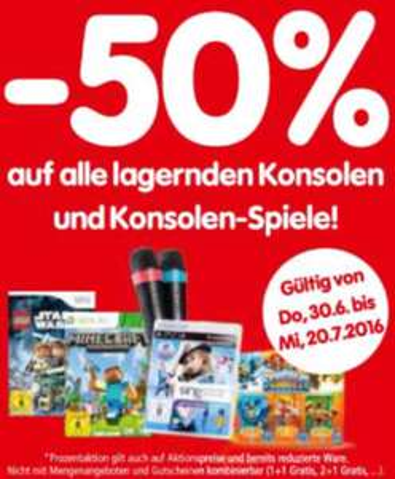 Interspar: -50% auf alle lagernden Konsolen und Games - ab 30.6.2016