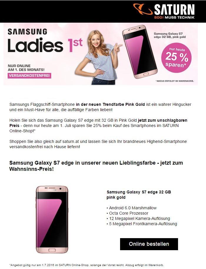 Ladies First: Samsung Galaxy S7 Edge Pink Gold 32GB inkl. 128 GB MircoSD zum absoluten Bestpreis Nur Heute bei Saturn