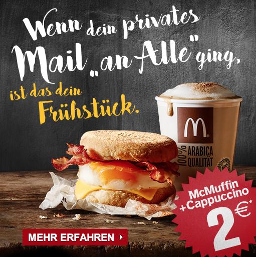McDonald's: McMuffin + Getränk um nur 2 € - bis 31.7.2016