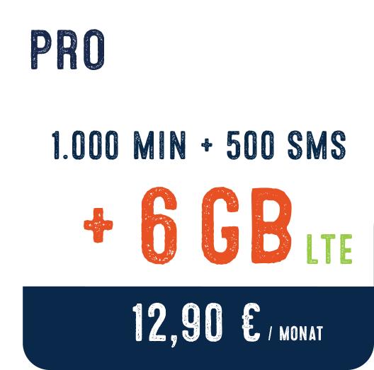eety LTE 6 GB + 1000 Min + 500 SMS um 12,90€