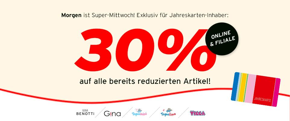 Ernsting's family: 30% Rabatt auf bereits reduzierte Ware - nur am 27. Juli
