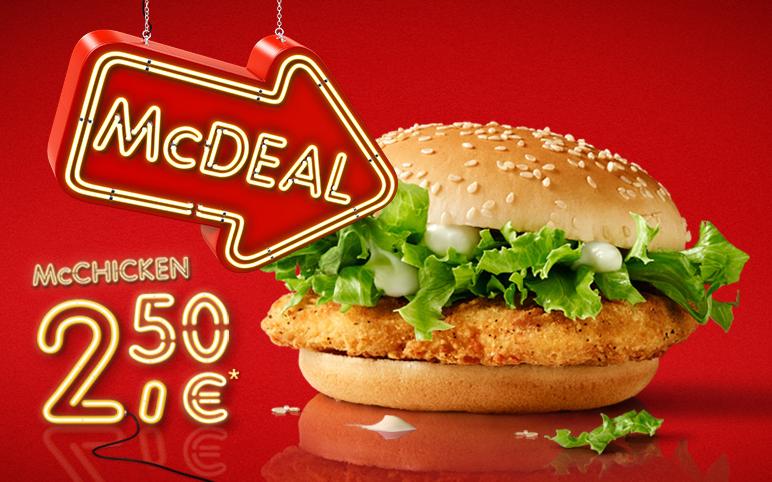 "McDonald's ""McDeal"": McChicken um 2,50 € - bis 31.8.2016"