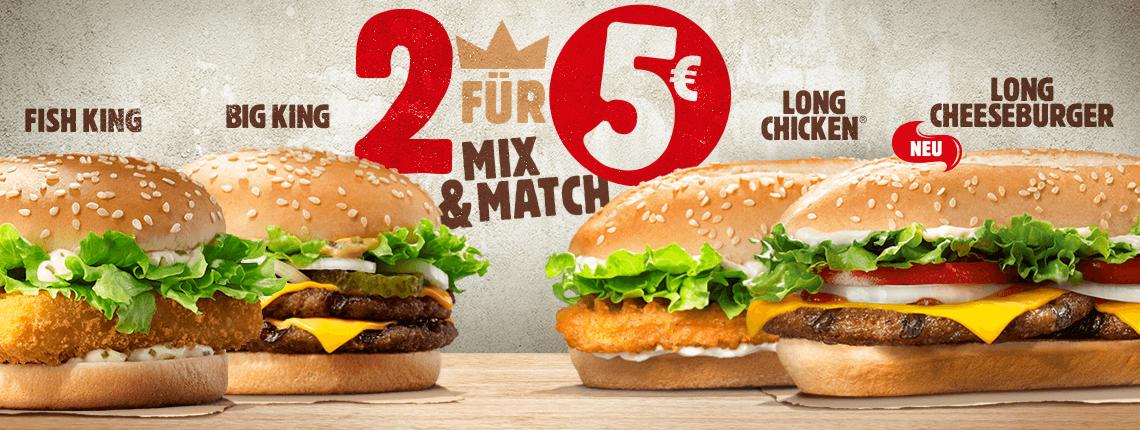 Burger King - 2 Burger nach Wahl für nur 5€